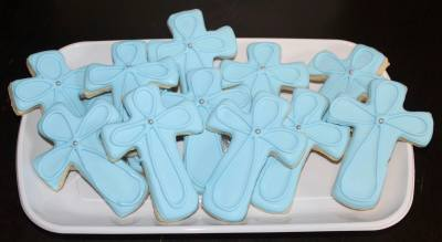 Baptism Crosses Custom Cookie Platter Style