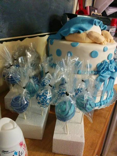 Chocolate Dipped Baby Blue Cake Pops to Match Baby Shower Cake