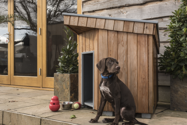A contemporary design bespoke dog kennel by Quarters of Sussex Ltd. www.quartersofsussex.co.uk Cedar cladded with a sloping rubber roof.