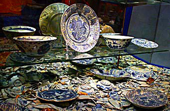 Broken blue and white Ancient Ceramics from a old Chinese merchant junk in the south China Sea off today Malaysia