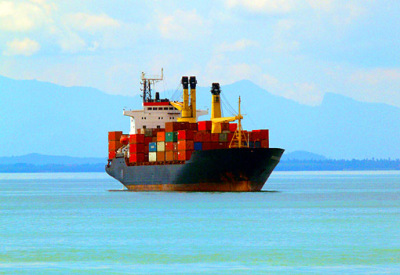 container vessel in the south china sea