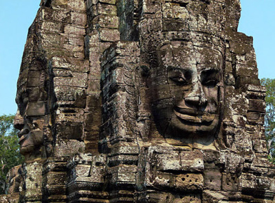 face tower at Angkor Thom close up