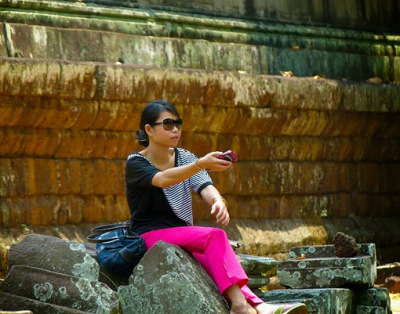 Making a selfie at Angkor