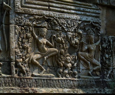 apsara dancer bas-relief