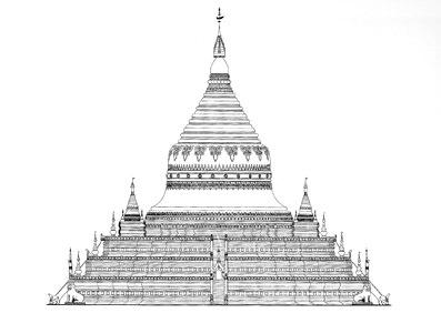 buddhist stupa cross section
