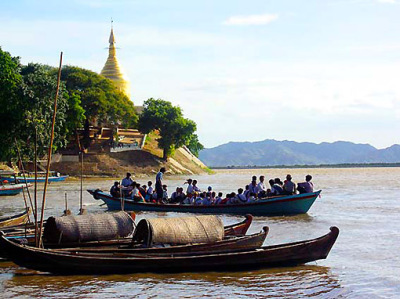 Irrawaddy River and golden stupa