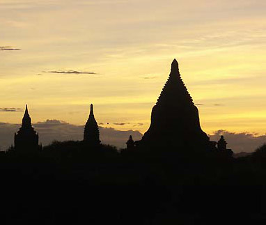 stupa and sunset
