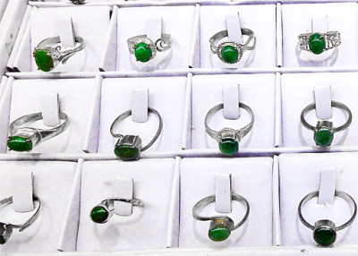 jade silver rings with cabochons