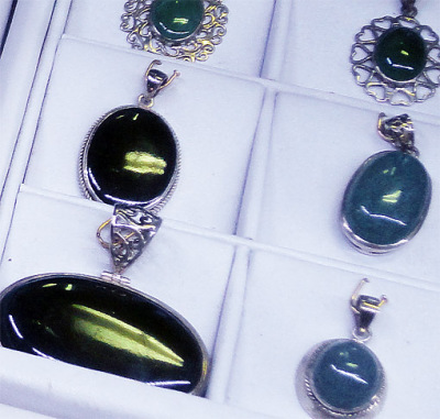 Jadeite pendants in Bogyoke Market