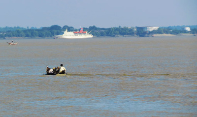 Busy Yangon River