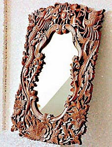 traditional carved teak mirror frame