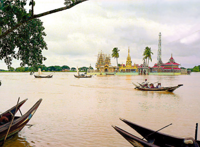 pagoda in the river near yangon