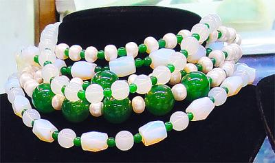 Green jadeite necklaces