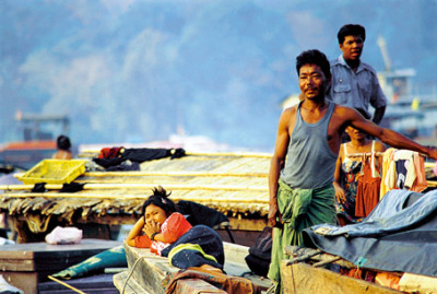 Myanmar Sea Gypsies on houseboat