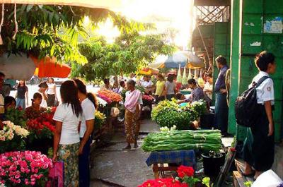 Anawrahta Road Flower Market