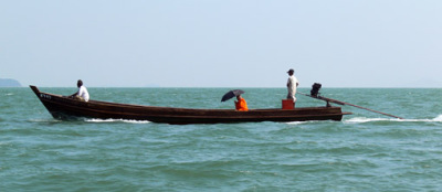 Myanmar Andaman Sea and longtail boat