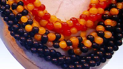 jadeite jade ball necklace black and orange color
