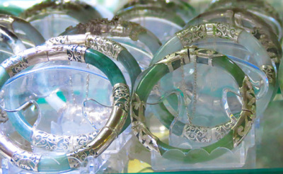 Jadeite bangles with silver