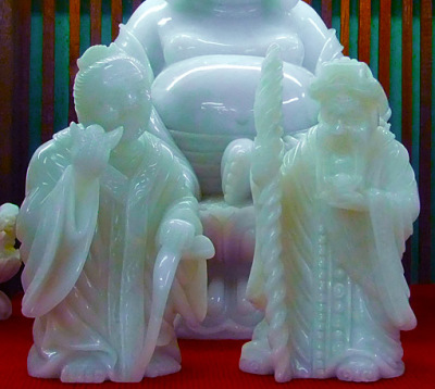 Chinese style white jade statues
