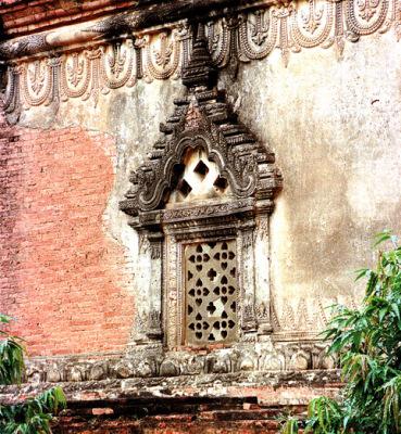 Buddhist shrine stone window Bagan
