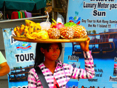 tropical fruits beach food