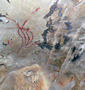 prehistoric cave paintings at Ao Luk in Krabi