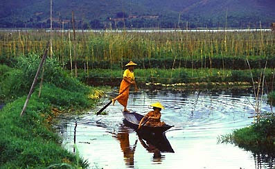 visiting inle lake and leg rower