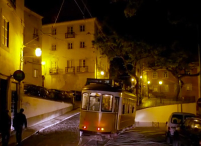 lisbon streetcar in old town