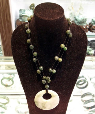 jadeite necklace with mother of pearl pendant