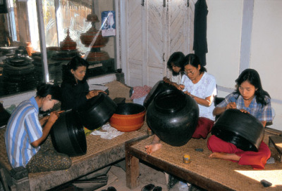 lacquer ware workshop in Bagan Myanmar