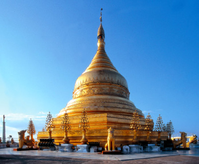 golden pagoda near the Ayeyarwady