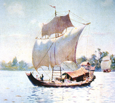 sailing ship used for Yangon to Bagan long time ago