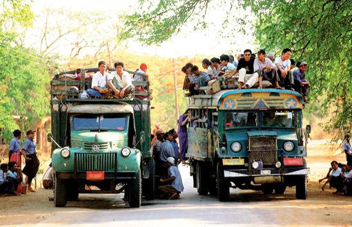 Yangon to Bagan road travel
