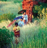Bagan pagoda ruins and Burmese Girls
