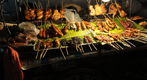 Street food in a Bangkok night at Nana