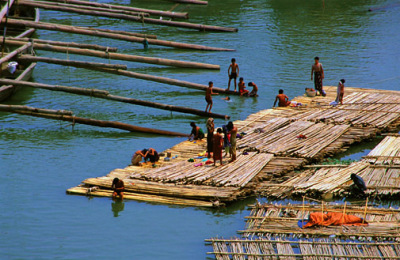 Bamboo rafts floating on the Irrawaddy River