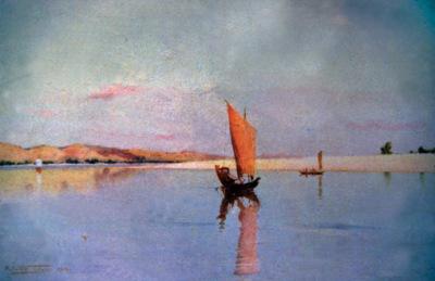 Old painting of Irrawaddy River at Mandalay