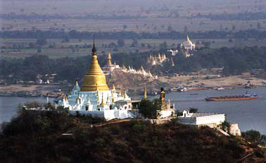Sagaing pagodas at the Irrawaddy (Ayeyarwady) River