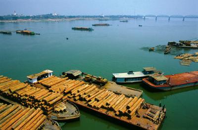 Irrawaddy (Ayeyarwady) River Harbor at Mandalay