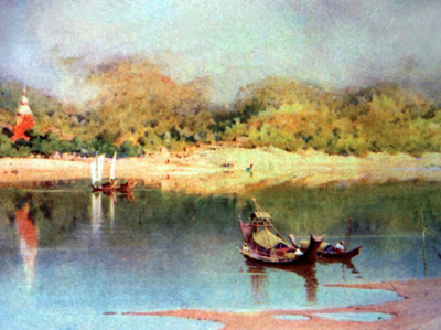 old painting of the Irrawaddy (Ayeyarwady) River