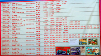 Bus schedule in Hat Yai