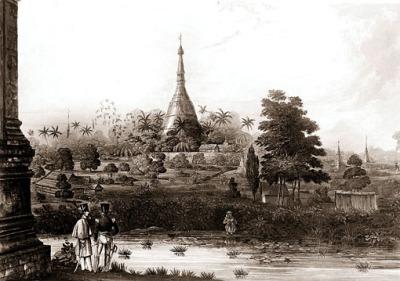 shwedagon pagoda stupa during colonial times