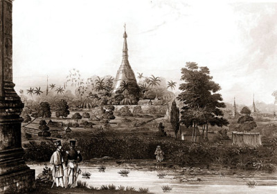 shwedagon pagoda stupa during colonial times