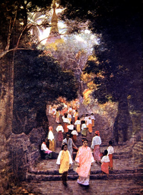 approaching the shwedagon pagoda in the 18. century
