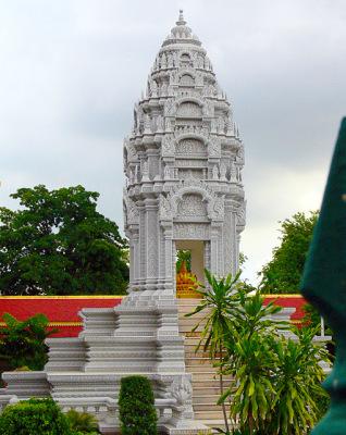 silver pagoda and Buddha Statue