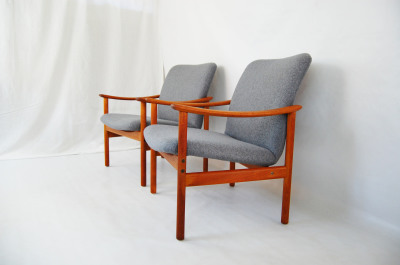 mid century modern, teak, grey, gray, wool fabric, camira, lounge chairs, pair, set of 2, office chair, refinished, mcm, mod, vintage furniture, arm chair, wooden frame, wooden arms, Seattle, WA, Washington, West coast, NW, North West, midcentury55, mid century 55