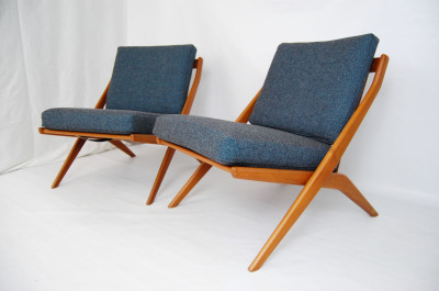 Dux, Folk Ohlsson, Scissors Chairs, lounge chairs, armless chairs, Sweden, Scandinavian, France and Son, teak, refinished, Lounge chair, Danish Modern, living room furniture, MCM, wood frame, wooden frames, North west, West coast, Seattle, Washington, WA, mcm, mod, mid century modern, vintage, furniture, mid century 55, midcentury55, Danish Modern, Seattle, Herman Miller, 1950s, Scandinavian, Denmark,  Norwegian, Norway,