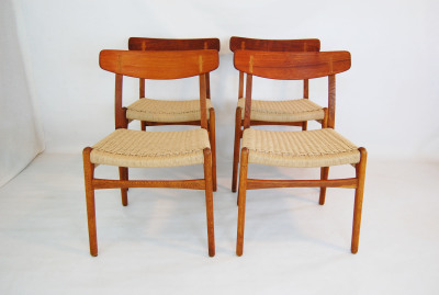Vintage, mid century modern, teak, oak, Home decor, 1960s, MCM, North west, West coast,  Seattle, Washington, WA, mod, mid century modern, mid century55, 1950s, furniture, Carl Hansen and son, CH-23, dining chairs, set of 4, paper cord, Hans Wegner, butterfly joints,