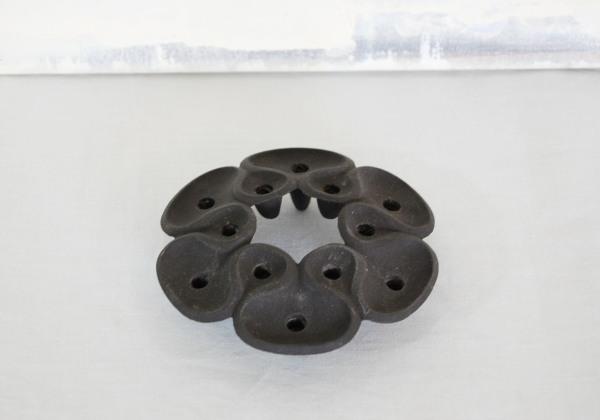 Danish modern, mcm, mod, Scandinavian, home decor, vintage, Dansk, cast iron, candle holder, flower lotus, Jens Quistgaard, black,