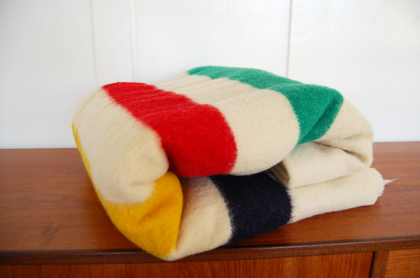 Hudson's Bay, Point, 100% wool, multi color, striped, twin size, blanket, made in England, modern, mcm, mod, Scandinavian, home decor, vintage, Seattle, midcentury55, furniture, living room, guest bed,